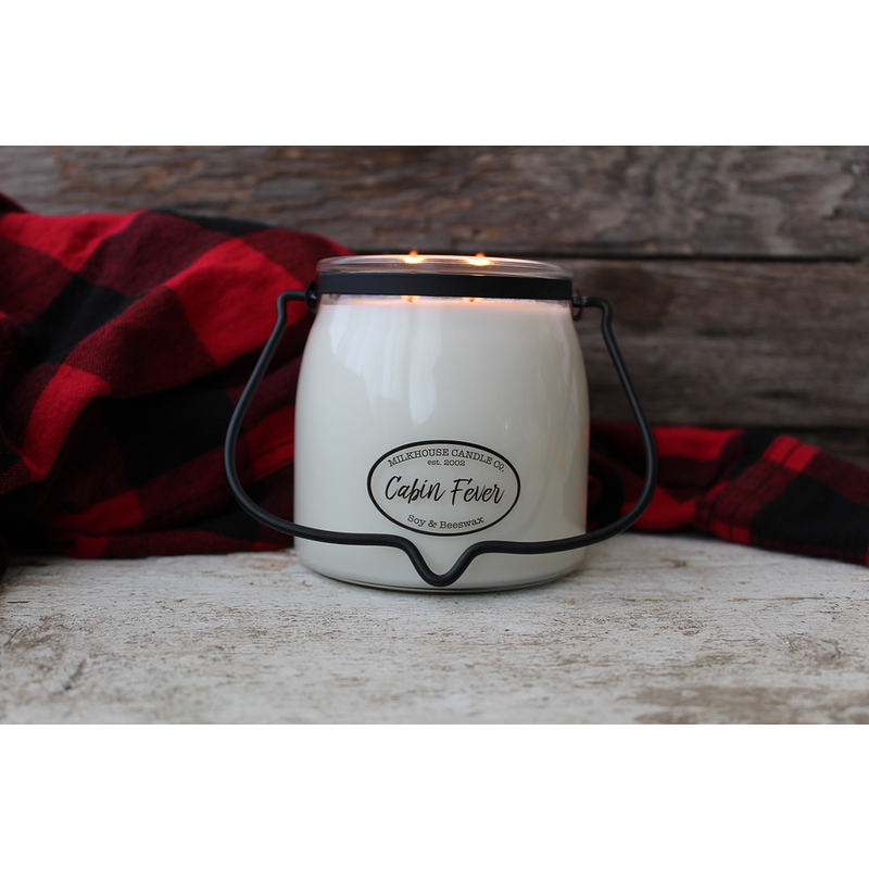 Milkhouse Candle Creamery Cabin Fever 16 oz  Butter Jar Candle