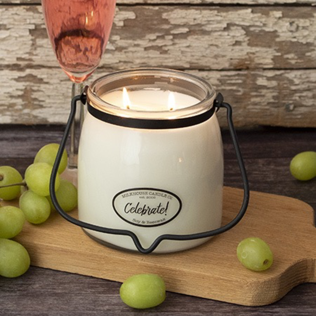 Milkhouse Candle Creamery Milkhouse Candle Creamery Butter Jar 16 oz:  Celebrate!