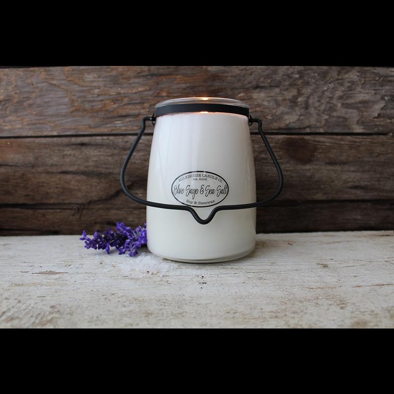 Milkhouse Candle Creamery Blue Sage & Sea Salt 22 oz Butter Jar Candle