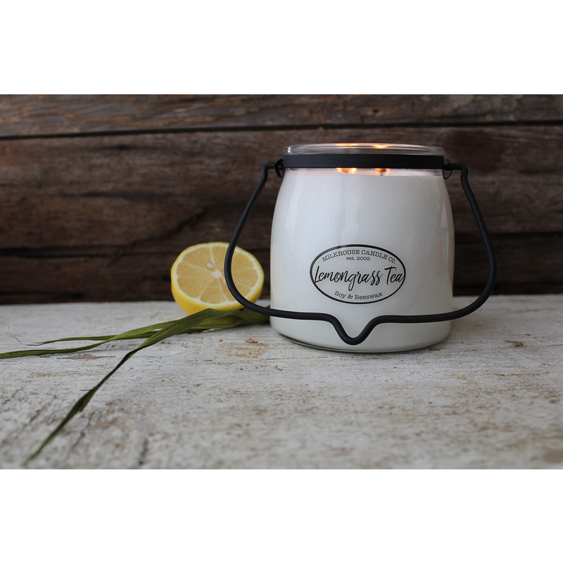 Milkhouse Candle Creamery Lemongrass Tea 16 oz  Butter Jar Candle