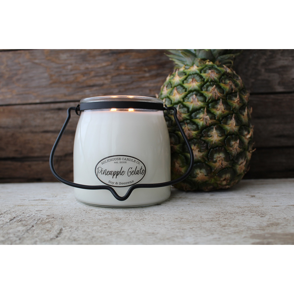 Milkhouse Candle Creamery Milkhouse Candle Creamery Butter Jar 16 oz:  Pineapple Gelato