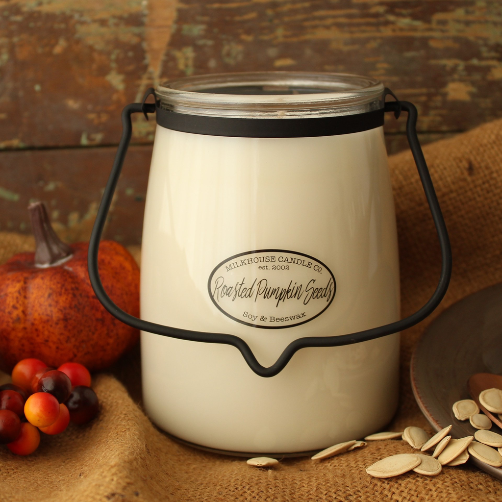 Milkhouse Candle Creamery Milkhouse Candle Creamery Butter Jar 22 oz:  Roasted Pumpkin Seeds