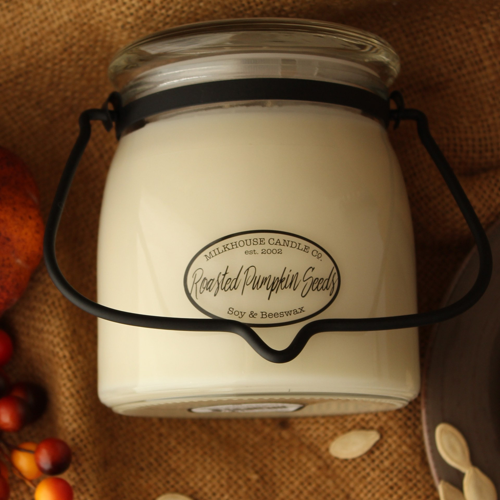 Milkhouse Candle Creamery Milkhouse Candle Creamery Butter Jar 16 oz:  Roasted Pumpkin Seeds