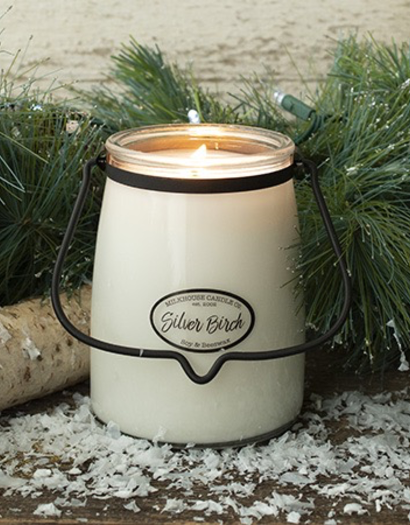 Milkhouse Candle Creamery Milkhouse Candle Creamery Butter Jar 22 oz:  Silver Birch