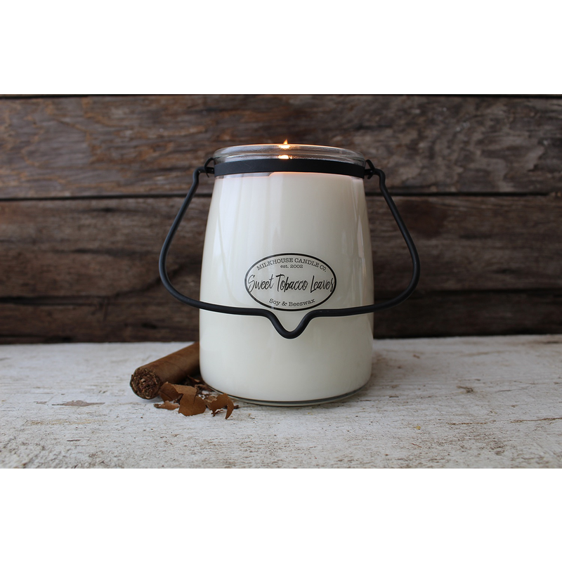 Milkhouse Candle Creamery Sweet Tobacco Leaves 22 oz Butter Jar Candle