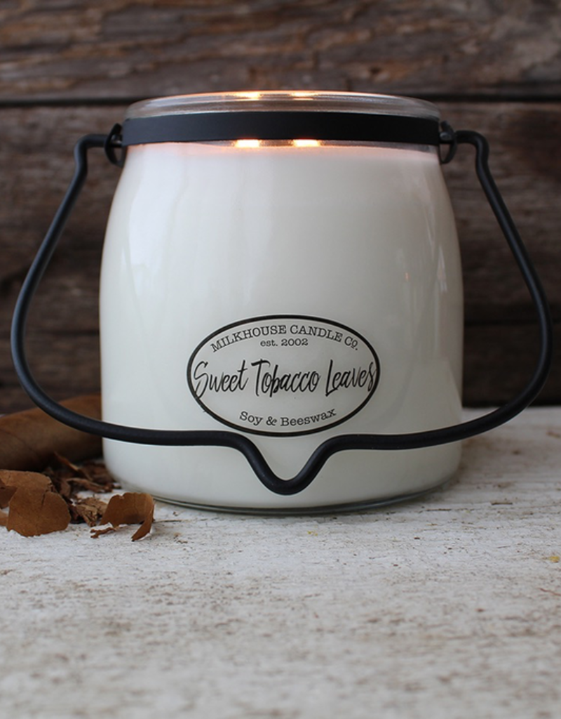 Milkhouse Candle Creamery Milkhouse Candle Creamery Butter Jar 16 oz:  Sweet Tobacco Leaves