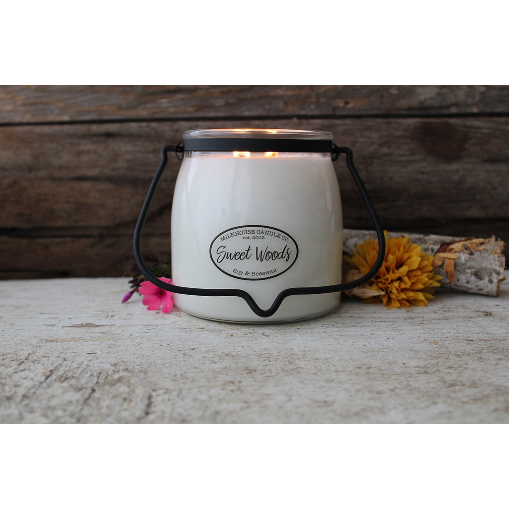 Milkhouse Candle Creamery Milkhouse Candle Creamery Butter Jar 16 oz:  Sweet Woods