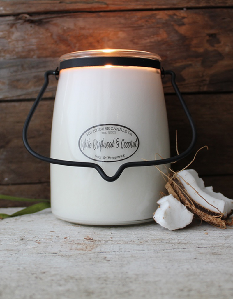 Milkhouse Candle Creamery Milkhouse Candle Creamery Butter Jar 22 oz:  White Driftwood & Coconut