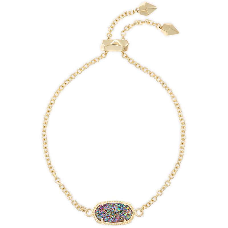Kendra Scott Elaina Adjustable Bracelet in Gold Multi Drusy