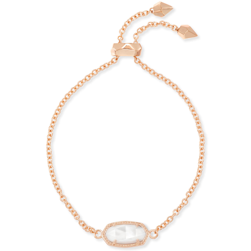 Kendra Scott Elaina Adjustable Bracelet in Rose Gold Ivory Mother of Pearl