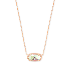 Kendra Scott Kendra Scott Elisa Necklace in Rose Gold & Dichronic Glass