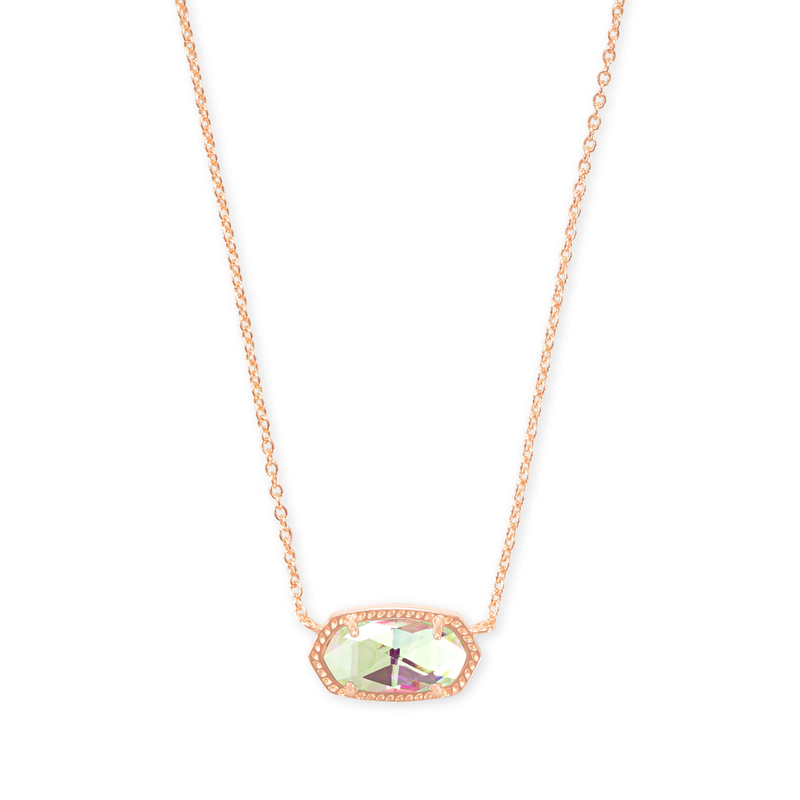 Kendra Scott Elisa Necklace in Rose Gold & Dichronic Glass