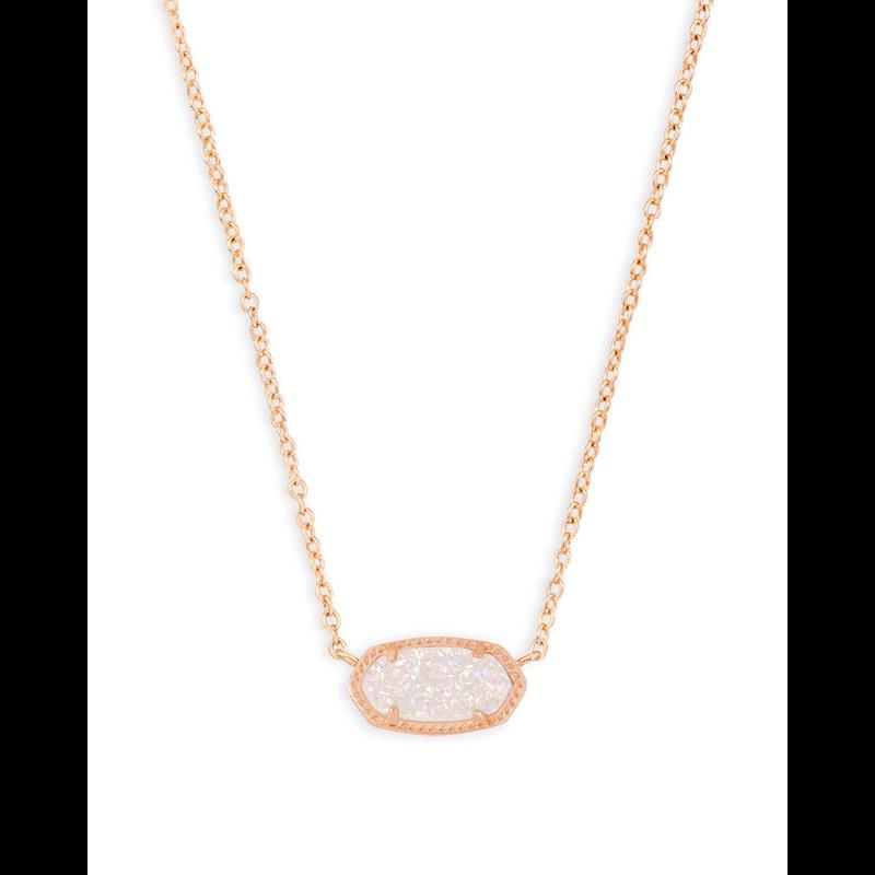 Kendra Scott Elisa Necklace in Rose Gold Iridescent Drusy