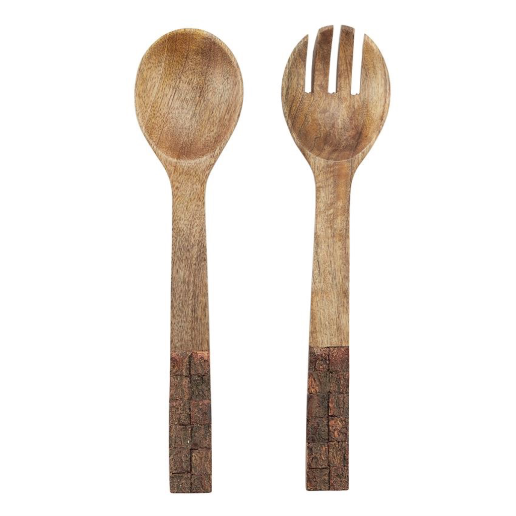 Mud Pie Bark Wood Salad Servers