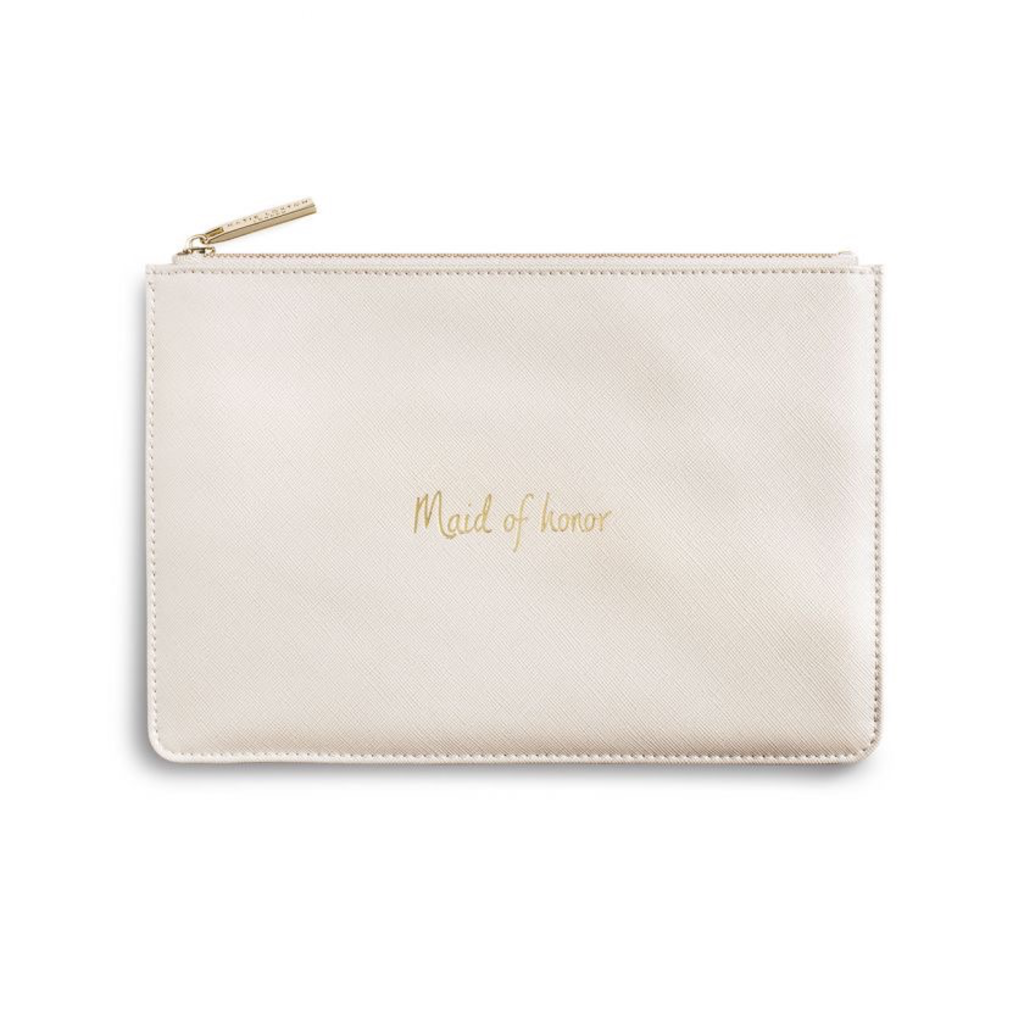 Katie Loxton  Perfect Pouch - Maid of Honor - Metallic White
