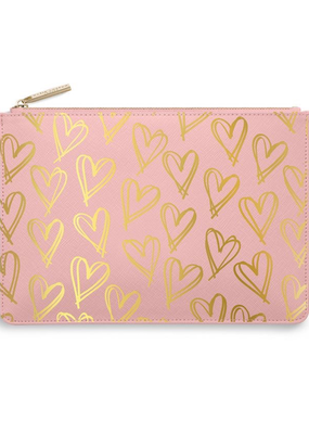 Katie Loxton Perfect Pouch - Heart Print - Pink