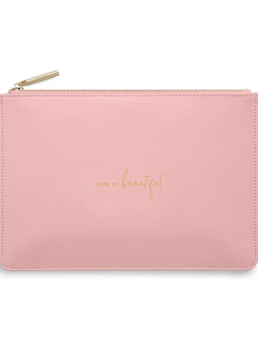 Katie Loxton Perfect Pouch - Life is Beautiful - Pink