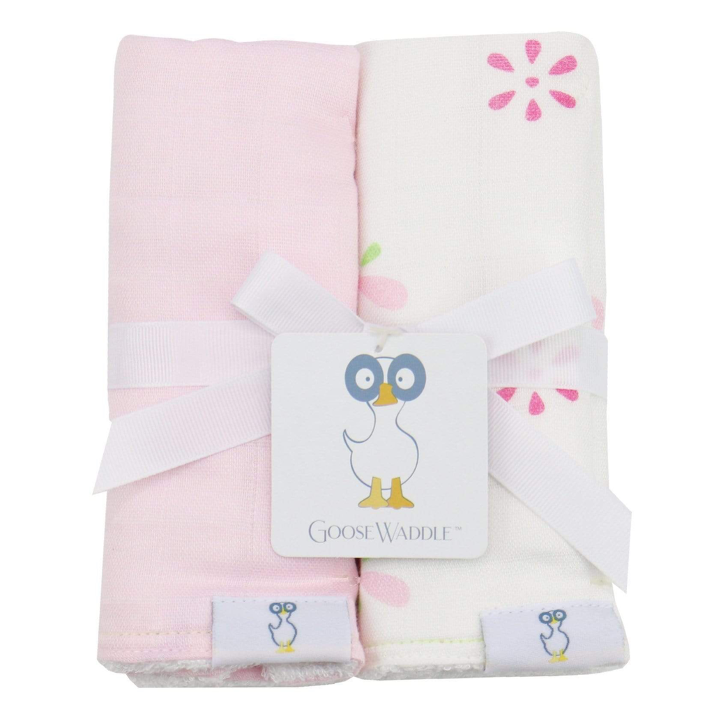 GooseWaddle Pink Floral Muslin & Terry Cloth Burp Cloths
