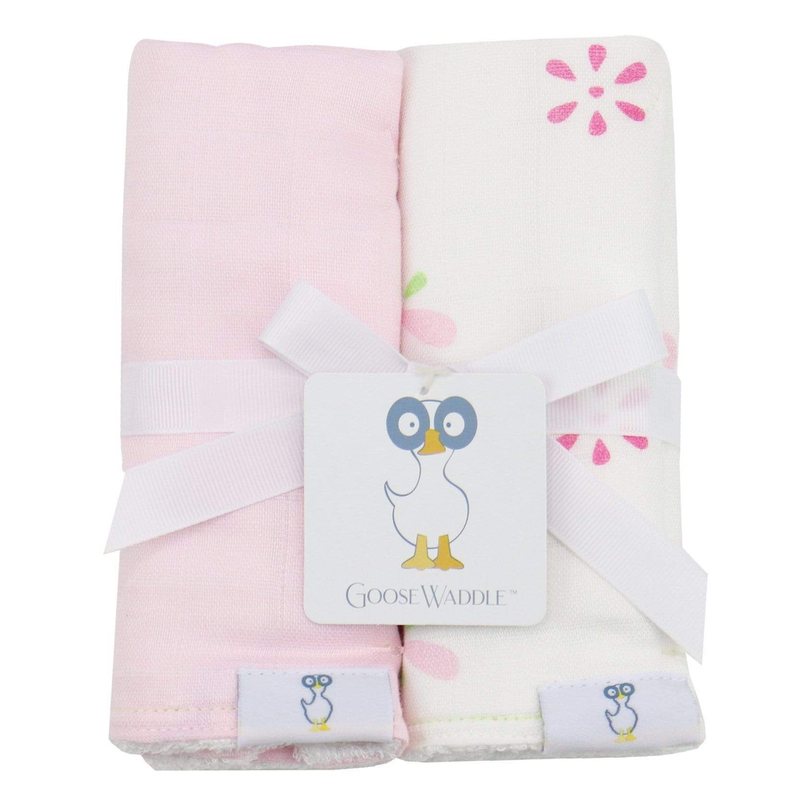 GooseWaddle Pink Floral Muslin & Terry Cloth Burp Cloths