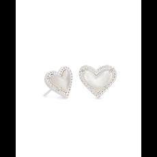 Kendra Scott Kendra Scott Ari Heart Stud Earrings in Silver Ivory Mother of Pearl