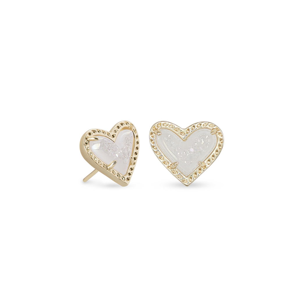 Kendra Scott Kendra Scott Ari Heart Stud Earrings in Gold Iridescent Drusy