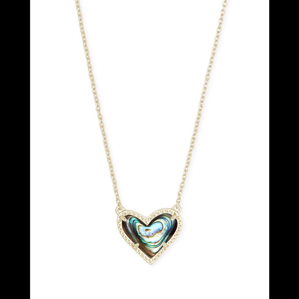 Kendra Scott Kendra Scott Ari Heart Short Pendant in Gold Abalone Shell