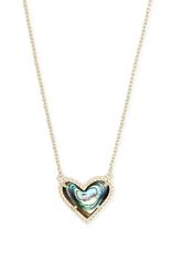 Kendra Scott Kendra Scott Ari Heart Short Pendant Gold Abalone Shell