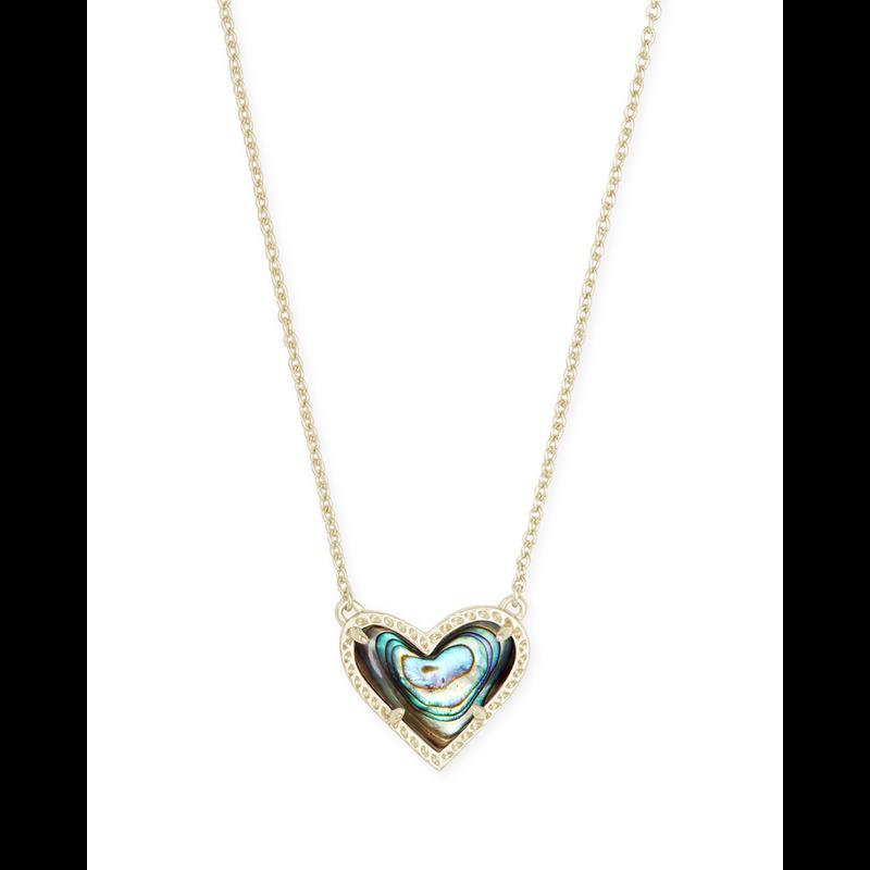 Kendra Scott Ari Heart Short Pendant in Gold Abalone Shell