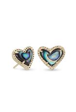 Kendra Scott Kendra Scott Ari Heart Stud Earring Gold Abalone Shell