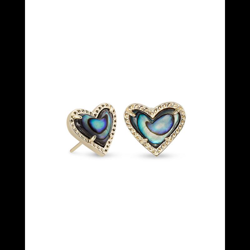 Kendra Scott Ari Heart Stud Earrings in  Gold Abalone Shell