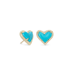 Kendra Scott Kendra Scott Ari Heart Stud Earrings in Gold Turquoise