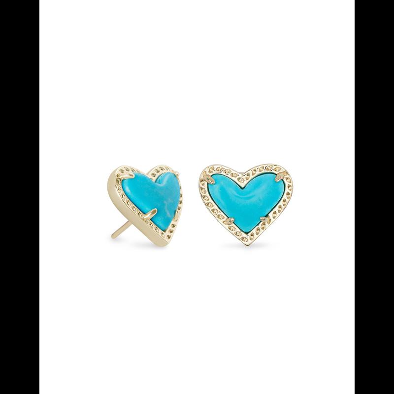 Kendra Scott Ari Heart Stud Earrings in Gold Turquoise