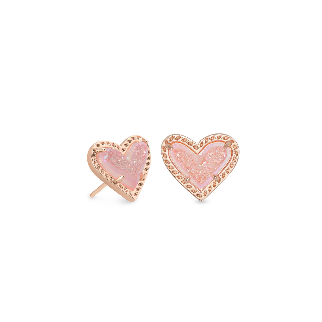 Kendra Scott Kendra Scott Ari Heart Stud Earrings in Rose Gold Pink Drusy