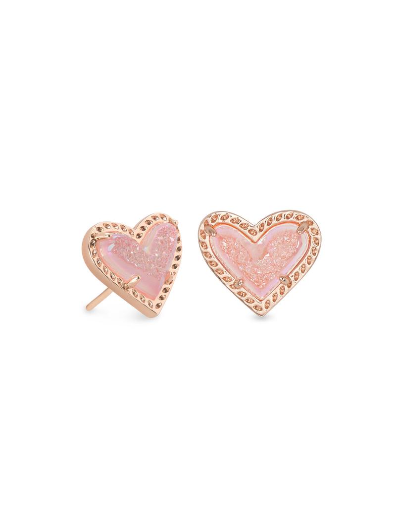 Kendra Scott Kendra Scott Ari Heart Stud Earring RSG Pink Drusy