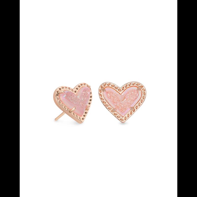 Kendra Scott Ari Heart Stud Earrings in Rose Gold Pink Drusy