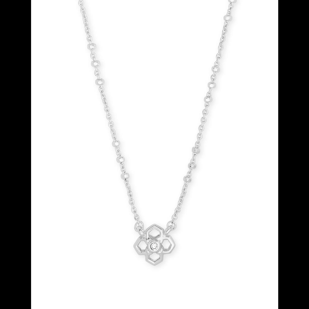 Kendra Scott Rue Short Pendant Necklace Rhodium Metal