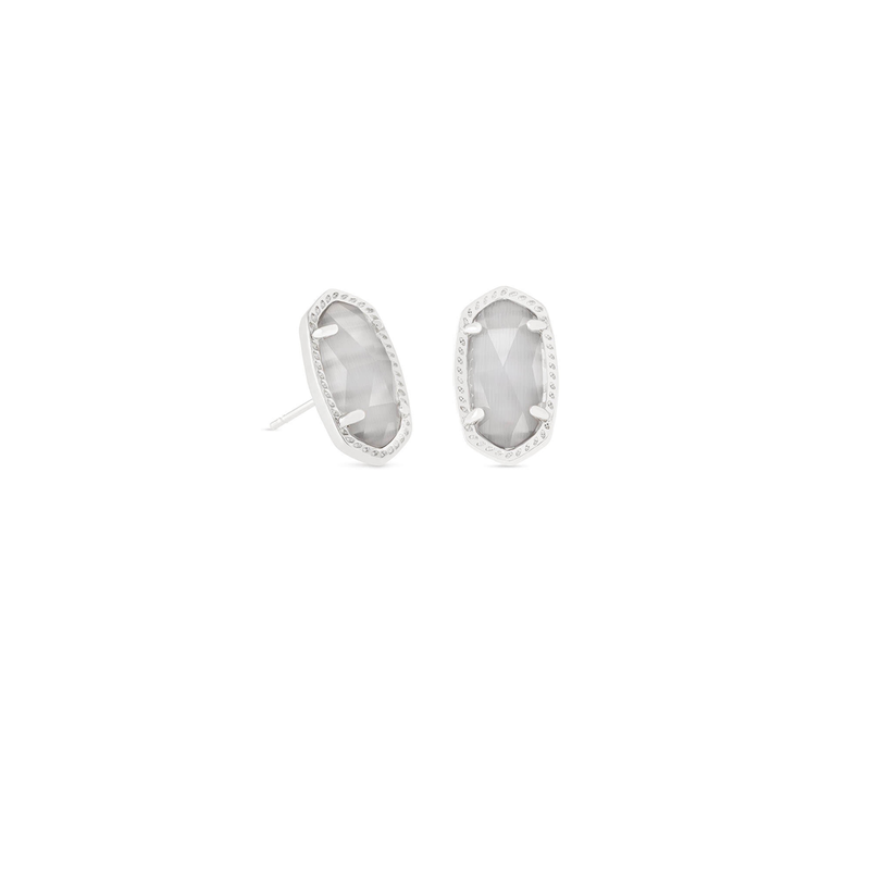 Kendra Scott Ellie Earrings in Silver & Slate Cat's Eye