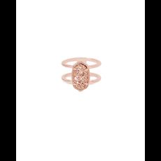 Kendra Scott Kendra Scott Elyse Ring in Rose Gold Drusy - Size 6
