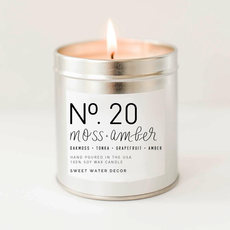 Moss + Amber - Soy Silver Tin Candle