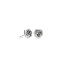 Kendra Scott Kendra Scott Nola Stud Earrings in Bright Silver Platinum Drusy