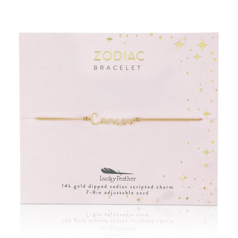 Lucky Feather Zodiac Cord Bracelet Gold - Cancer