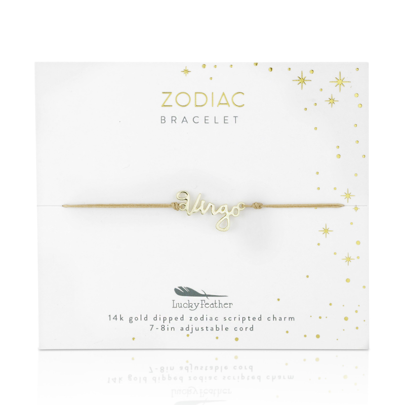 Lucky Feather Zodiac Cord Bracelet Gold - Virgo