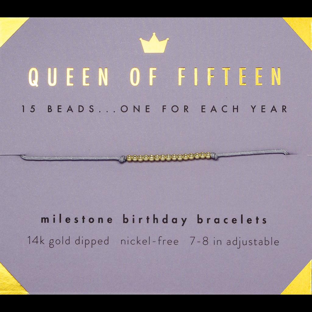 Milestone Birthday Bracelet Gold - Fifteen