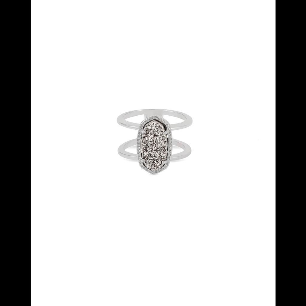 Kendra Scott Kendra Scott Elyse Ring in Silver Platinum Drusy - Size 8