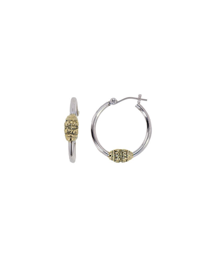 John Medeiros - Beaded Two Tone Hoop Earrings