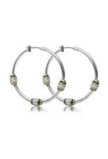 John Medeiros - Beaded Pave Triple Bead Hoop Earrings