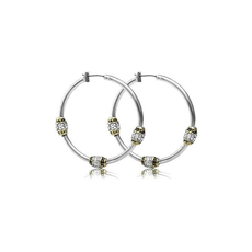 John Medeiros John Medeiros - Beaded Pavé Triple Bead Hoop Earrings