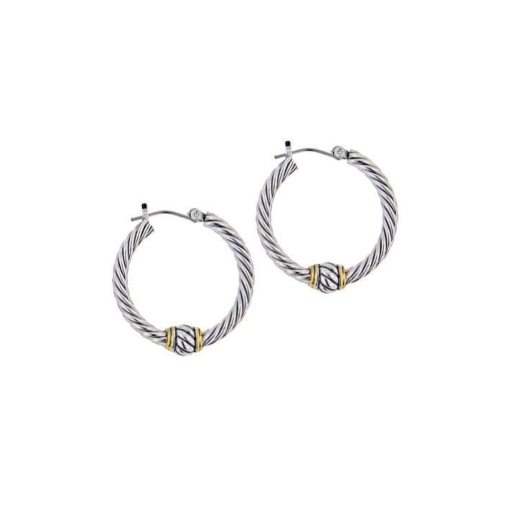 John Medeiros - Oval Link Collection Small Twisted Wire Hoop Earrings