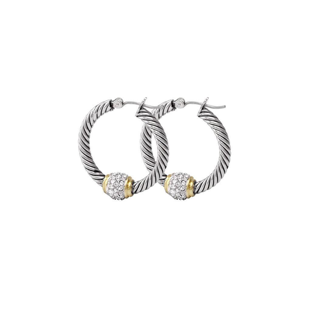 John Medeiros - Antiqua Pave Twisted Wire Hoop Earrings