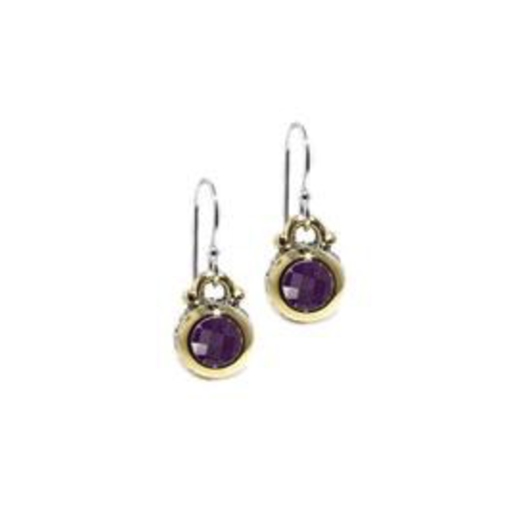 John Medeiros John Medeiros - Oval Link Collection CZ Fish Hook Earrings - Amethyst